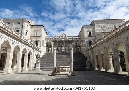 Benedictine Montecassino Abbey (Cassino, Italy), Destroyed by bombing in WWII and rebuilt immediately after - stock photo