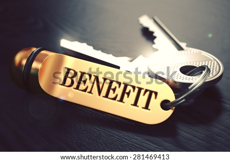 Benefit  Concept. Keys with Golden Keyring on Black Wooden Table. Closeup View, Selective Focus, 3D Render. Toned Image. - stock photo