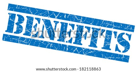 Benefits blue square grunge textured stamp isolated on white - stock photo