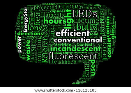 Benefits of LED in word collage - stock photo