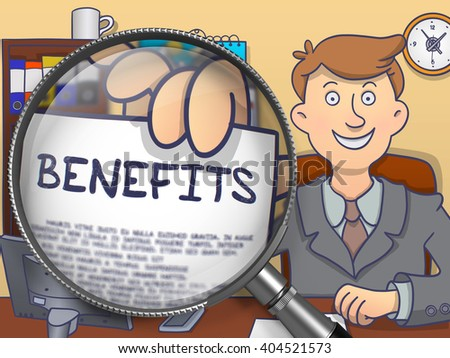 Benefits on Paper in Man's Hand through Lens to Illustrate a Business Concept. Multicolor Doodle Style Illustration. - stock photo