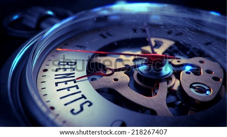 Benefits on Pocket Watch Face with Close View of Watch Mechanism. Time Concept. Vintage Effect. - stock photo
