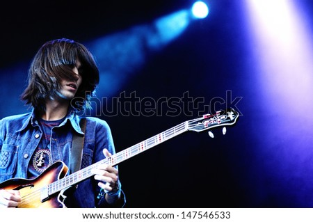 BENICASIM, SPAIN - JULY 18: Temples, a neo-psych group from the Midlands (England), concert at FIB (Festival Internacional de Benicassim) 2013 Festival on July 18, 2013 in Benicasim, Spain. - stock photo