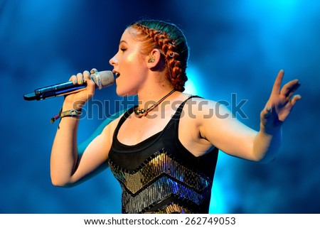 BENICASSIM, SPAIN - JULY 19 Katy B (English singer and songwriter) concert at FIB Festival on July 19, 2014 in Benicassim, Spain. - stock photo