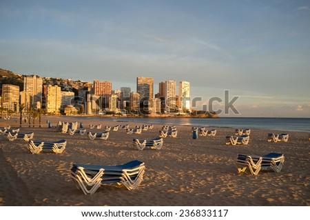 Benidorm beach under late afternoon sun, Costa Blanca, Spain - stock photo