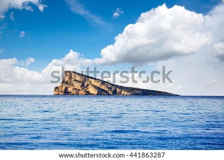 Benidorm island in Mediterranean Alicante of Spain - stock photo