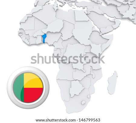 Benin with national flag - stock photo