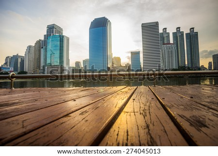 Benjakiti park city downtown skyline at night with water reflection, Bangkok,Thailand - stock photo