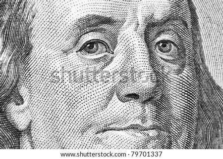 Benjamin Franklin closeup - stock photo