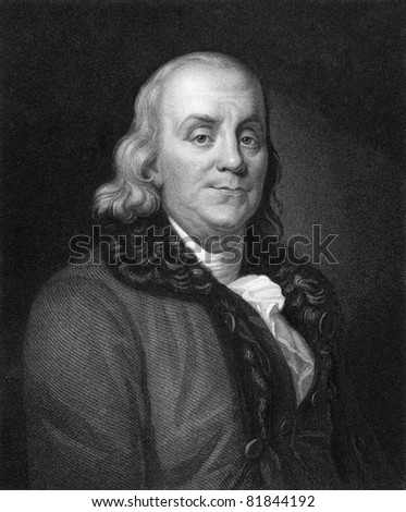 Benjamin Franklin (1706-1790). Engraved by J.Thomson and published in The Gallery of Portraits with Memoirs encyclopedia, United Kingdom, 1833. - stock photo