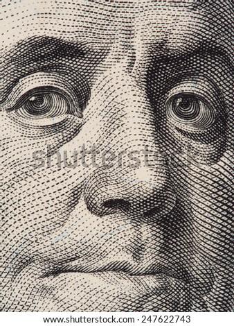 Benjamin  Franklin portrait extreme closeup macro on the US 100 dollar bill, 2013 series - stock photo