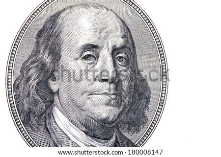 Benjamin Franklin portrait from hundred dollars banknote - stock photo