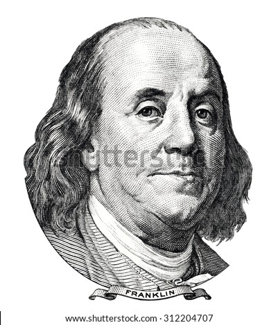 Benjamin Franklin portrait isolated on white background - stock photo