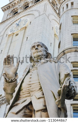 Benjamin Franklin Statue in front of the Old Post Office in Washington DC - stock photo