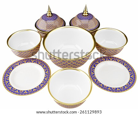 Benjarong porcelain on White background - stock photo