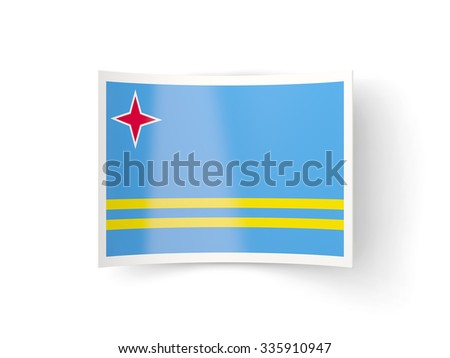Bent icon with flag of aruba isolated on white - stock photo