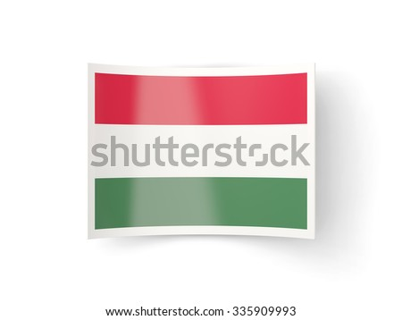 Bent icon with flag of hungary isolated on white - stock photo