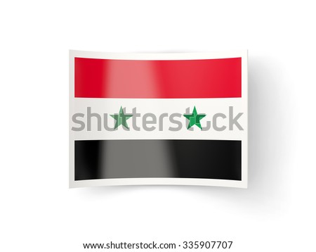 Bent icon with flag of syria isolated on white - stock photo