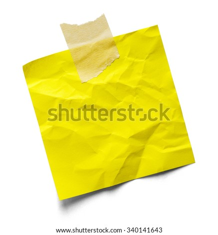 Bent Up Sticky Note and Tape Isolated on a White Background. - stock photo