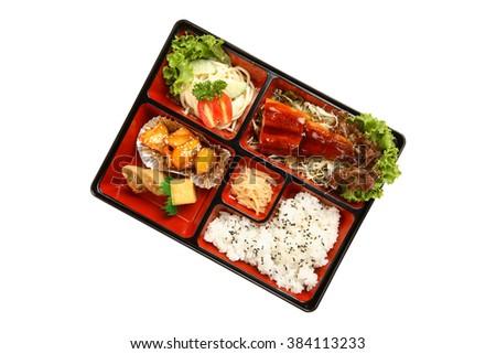 Bento box isolated on white background - stock photo