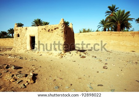 Berber house in Sahara Desert, Africa - stock photo