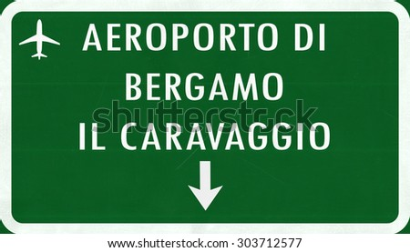 Bergamo Italy Airport Highway Sign 2D Illustration - stock photo