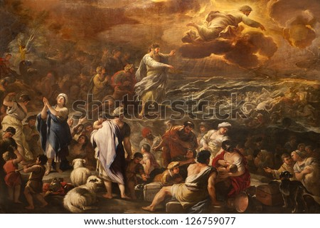 "BERGAMO - JANUARY 26: ""Passaggio del Mar Rosso"" by Luca Giordano. Crossing the Red sea paint form church Santa Maria Maggiore on January 26, 2013, in Bergamo, Italy. - stock photo"