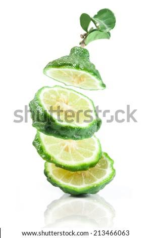 Bergamot and kaffir lime leaves on white background - stock photo