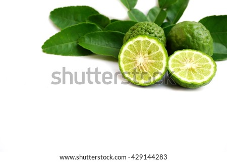 Bergamot fruit and Kaffir lime isolated on a white background - stock photo