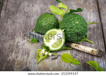 bergamot on wood background - stock photo
