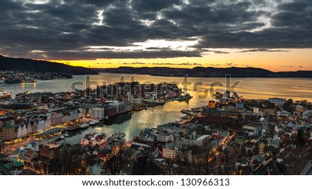 Bergen city in Norway at night view from mountain - stock photo