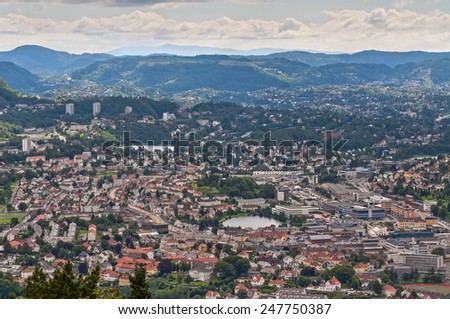 Bergen is the city on the west coast of Norway - stock photo