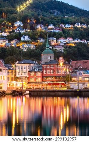 BERGEN, NORWAY -SEPT 25: Historical buildings on the street in Bergen on Sept 25, 2014, Norway - stock photo