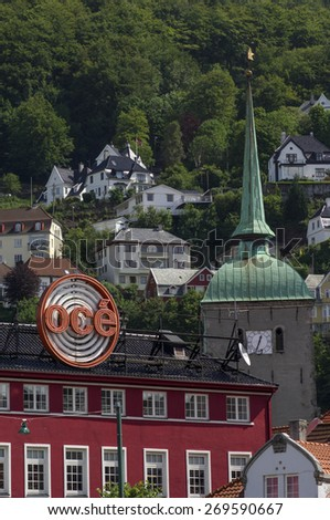 BERGEN/NORWAY 10TH JULY 2006 Church spire and hillside - stock photo