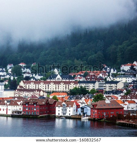 Bergen waterfront with historical buildings, Norway - stock photo