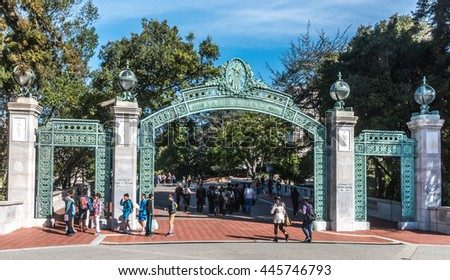 Berkeley, California - March 16, 2016: Students at the University of California pass through Sather Gate, a landmark built in 1910, connects Sproul Plaza to the center of the college campus. - stock photo