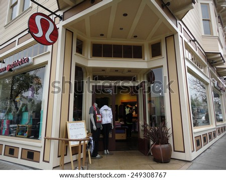 BERKELEY - JANUARY 29, 2011: Lululemon store exterior and sign in Berkeley,  Lululemon makes technical athletic clothes for yoga, running, working out, and most other sweaty pursuits January 29, 2011. - stock photo
