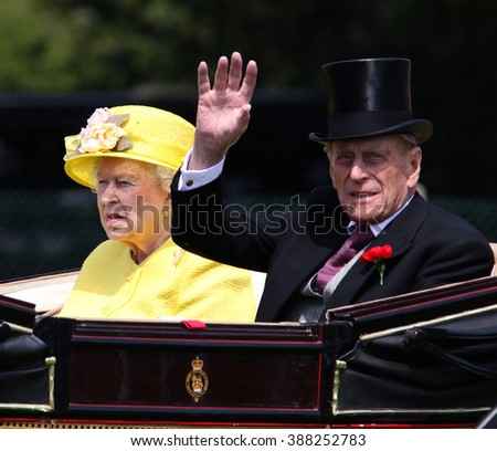 BERKSHIRE - JUN 19, 2015: Queen Elizabeth II and Prince Philip attend Royal Ascot day four on Jun 19, 2015 in Berkshire - stock photo