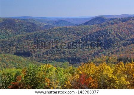 Berkshire Mountains in Autumn, Deerfield, Massachusetts - stock photo