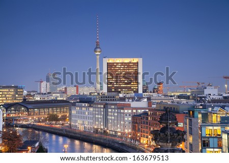 Berlin. Aerial view of Berlin, capital city of Germany, during twilight blue hour. - stock photo