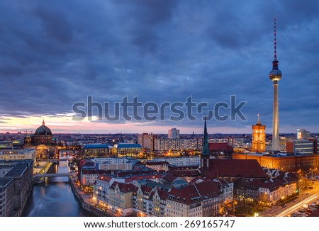 Berlin at dawn with a dramatic sky - stock photo