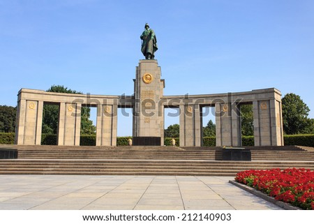 BERLIN - AUG 07: Soviet War Memorial in Berlin Tiergarten. Aug 07, 2014 in Berlin, Germany - The Soviet War Memorial is a vast war memorial and military cemetery in Berlin's Treptower Park. - stock photo