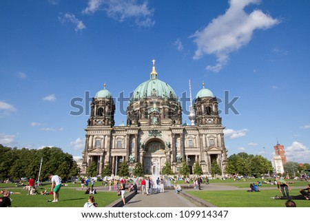 BERLIN - AUGUST 6: Berliner Dom,or Berlin Cathedral on August, 6, 2012. It was built between 1895 and 1905. The current building replaced in 1894. - stock photo