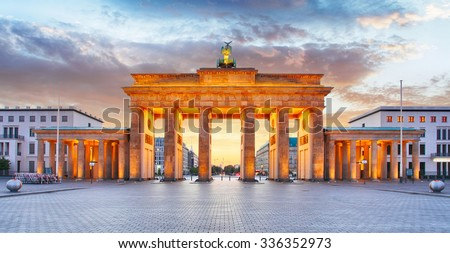Berlin - Brandenburg Gate at night - stock photo