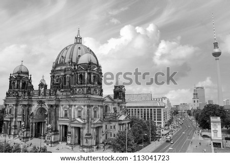 Berlin Cathedral and Alexander Platz, Aerial view, Germany - stock photo