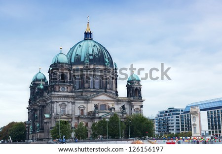 Berlin Cathedral (Berliner Dom) against the evening sky - stock photo