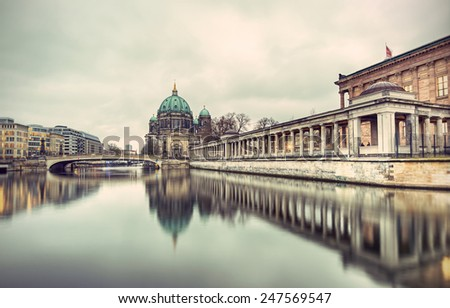 Berlin Cathedral (Berliner Dom) and Museum Island (Museumsinsel) reflected in Spree River, Berlin, Germany, Europe, vintage style - stock photo