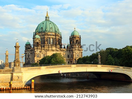 Berlin Cathedral (Berliner Dom) and the bridge across the Spree River, Germany - stock photo