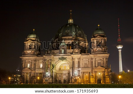 Berlin Cathedral (Berliner Dom) at night. Berlin, Germany  - stock photo