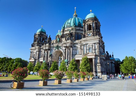 Berlin Cathedral. Berliner Dom, Germany. Street view - stock photo